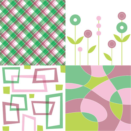 retro dusky pink and green plaid, flower, square and squiggle quads Vector