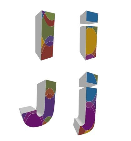 3D retro funky alphabets - part of a complete set