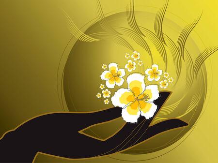 buddhas hand and white hibiscus