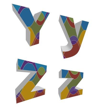 3D retro funky alphabets - part of a complete set Vector
