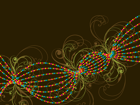 color dotted lines and swirls abstract Vector