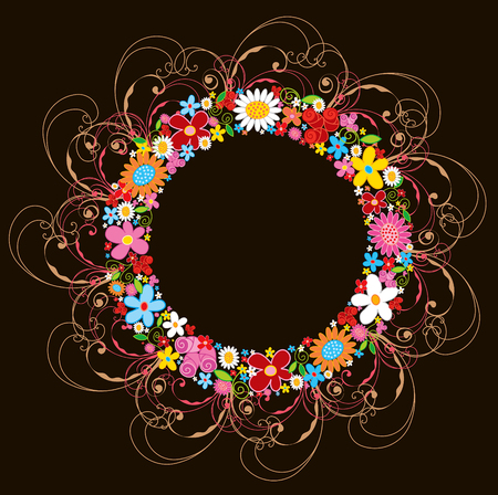 spring flower wreath and swirls  Vector