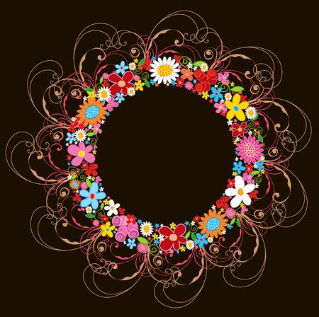 spring flower wreath and swirls  Vector