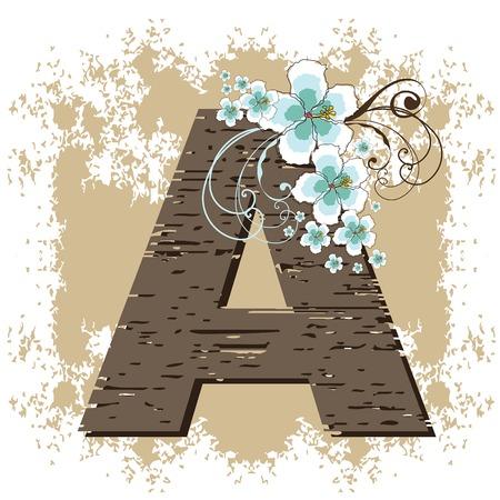 fonts vector: blue hibiscus grunge vintage alphabet A Illustration