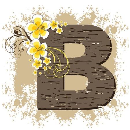 yellow hibiscus grunge vintage alphabet B Vector