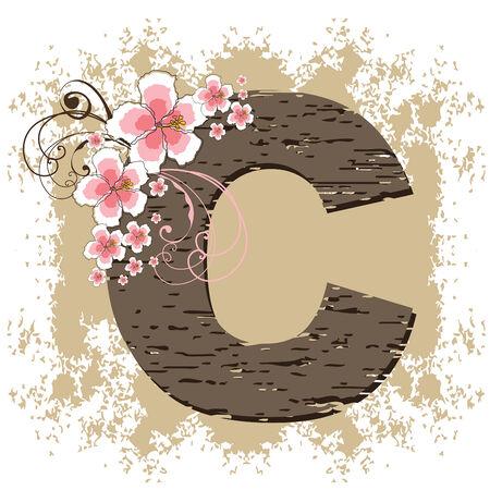 pink hibiscus grunge vintage alphabet C Vector