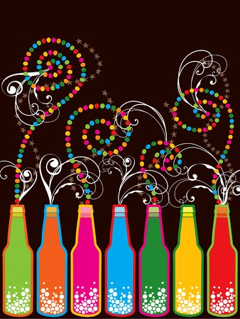 colorful retro pop new year bottles  Vector