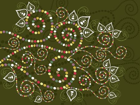 bohemian ethnic floral curves abstract  Vector