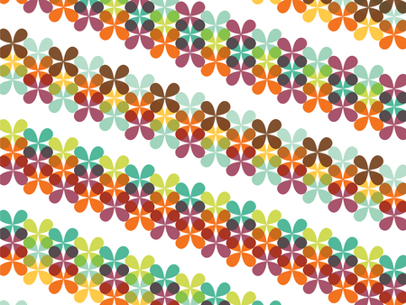 retro butterfly clover floral groovy stripes