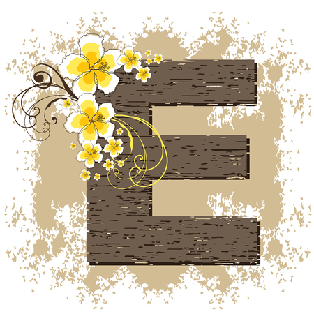 fonts vector: yellow hibiscus grunge vintage alphabet E