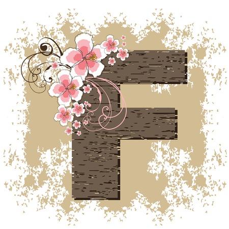 pink hibiscus grunge vintage alphabet F Vector