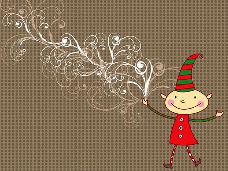 cartoon elfe: Cartoon Cartoon Elf whimsical  Illustration