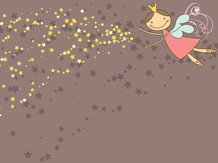 sweet fairy and stars Vector