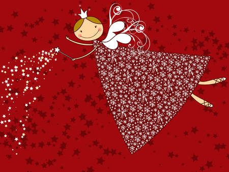 snowflake christmas fairy Vector