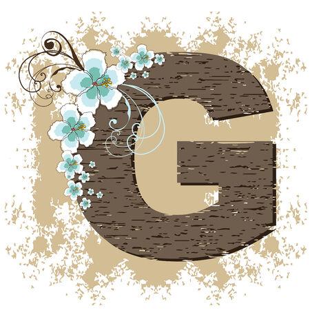 blue hibiscus grunge vintage alphabet G Vector
