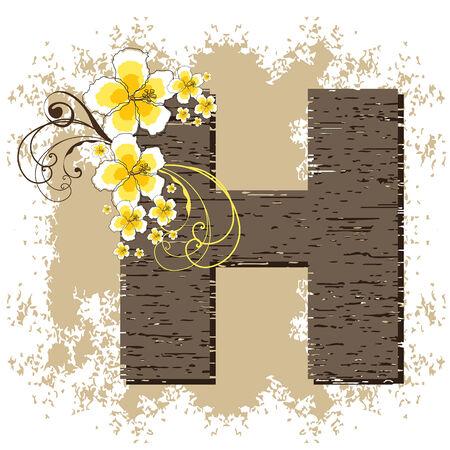 yellow hibiscus grunge vintage alphabet H Vector
