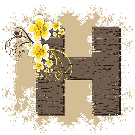 fonts vector: yellow hibiscus grunge vintage alphabet H