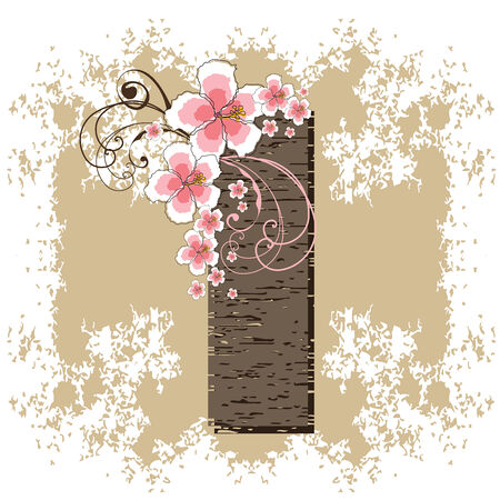 pink hibiscus grunge vintage alphabet I Vector