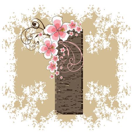 flower clip art: pink hibiscus grunge vintage alphabet I