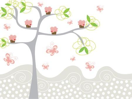 mariposa caricatura: Cute cupcakes rosa en un �rbol  Vectores