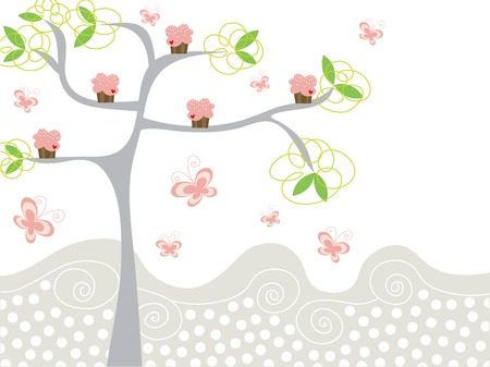 cute pink cupcakes on a tree Vector