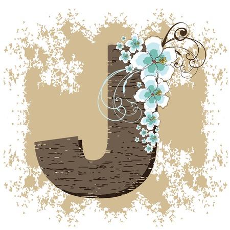 blue hibiscus grunge vintage alphabet J Vector