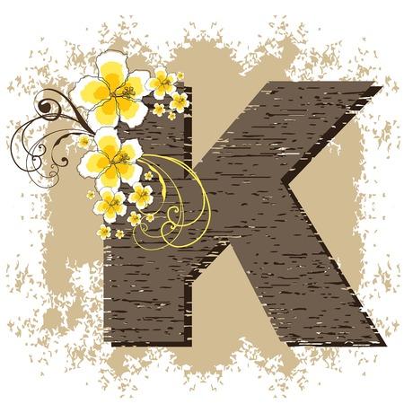 yellow hibiscus grunge vintage alphabet K Vector