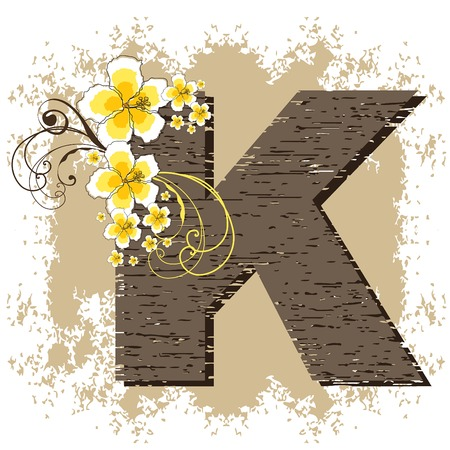 yellow hibiscus grunge vintage alphabet K Illustration