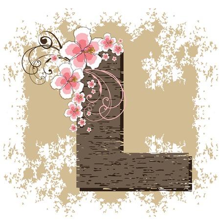 pink hibiscus grunge vintage alphabet L Vector