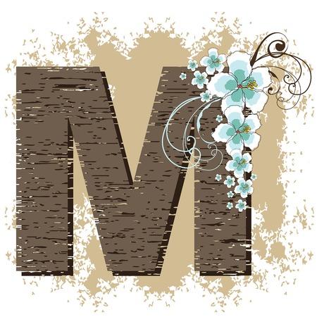 fonts vector: blue hibiscus grunge vintage alphabet M