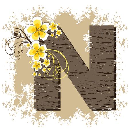 yellow hibiscus grunge vintage alphabet N Vector