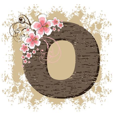 flower font: pink hibiscus grunge vintage alphabet O Illustration