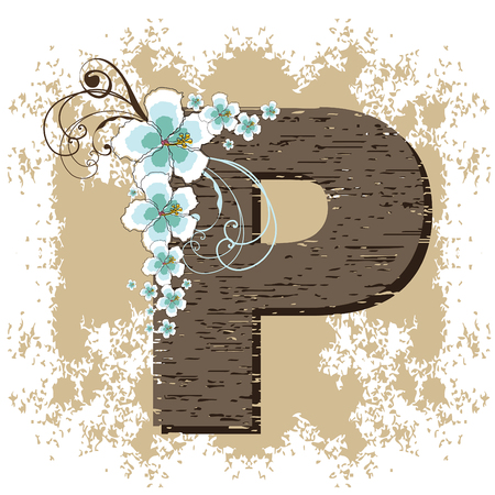 blue hibiscus grunge vintage alphabet P Vector