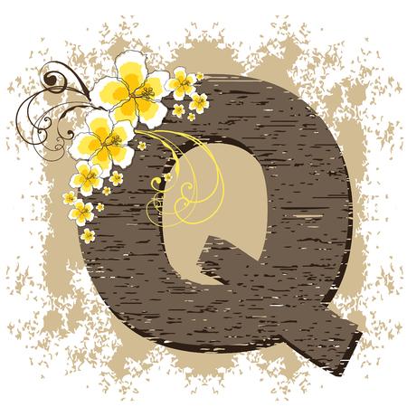 yellow hibiscus grunge vintage alphabet Q Vector