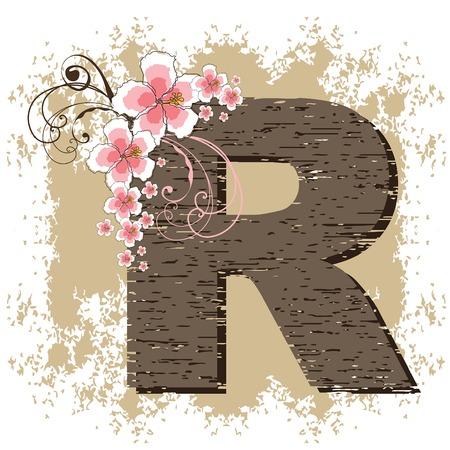pink hibiscus grunge vintage alphabet R Vector