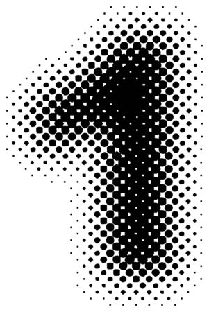 stylize: halftoonraster teken  symbool  nummer - deel uit van een volledig alfabet set