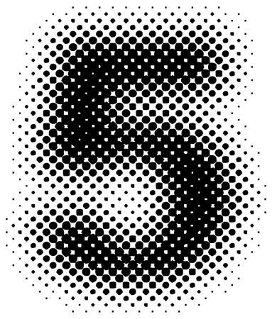 halftone sign  symbol  number - part of a full alphabet set Vector