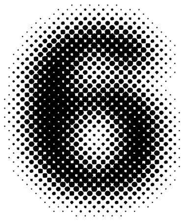six objects: halftone sign  symbol  number - part of a full alphabet set