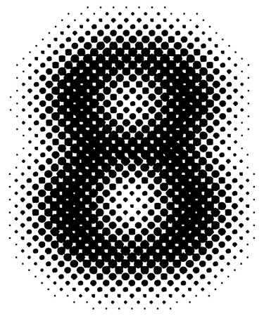halftone sign  symbol  number - part of a full alphabet set Vector