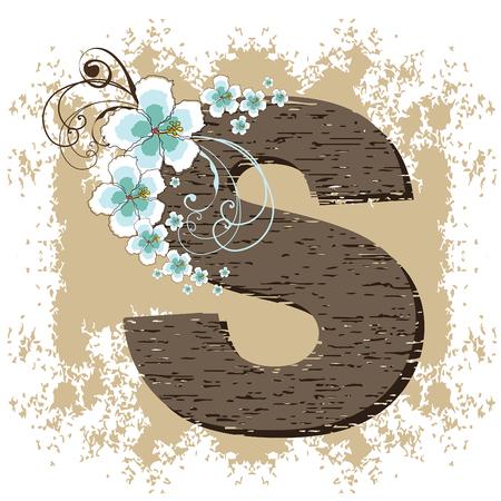 fonts vector: blue hibiscus grunge vintage alphabet S