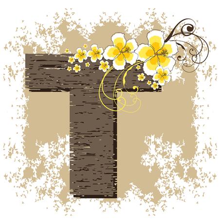 yellow hibiscus grunge vintage alphabet T Vector