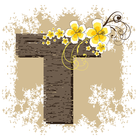fonts vector: yellow hibiscus grunge vintage alphabet T Illustration