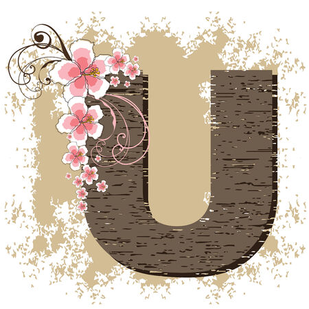 pink hibiscus grunge vintage alphabet U Vector