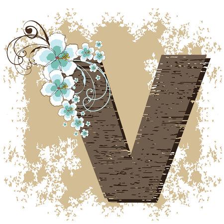 blue hibiscus grunge vintage alphabet V Vector