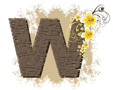 yellow hibiscus grunge vintage alphabet W Vector