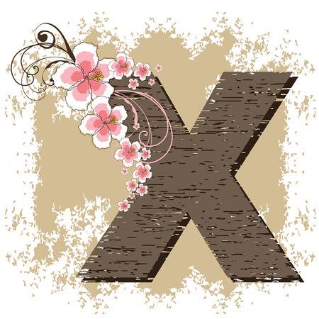 pink hibiscus grunge vintage alphabet X Vector