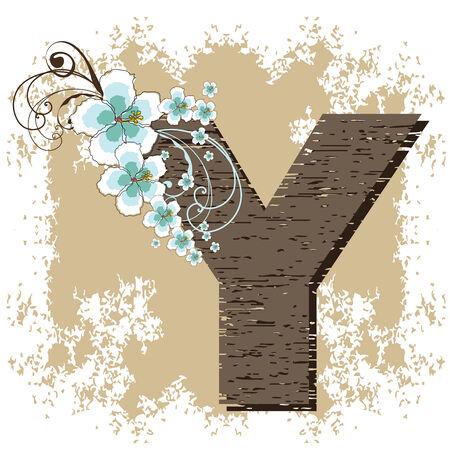 fonts vector: blue hibiscus grunge vintage alphabet Y