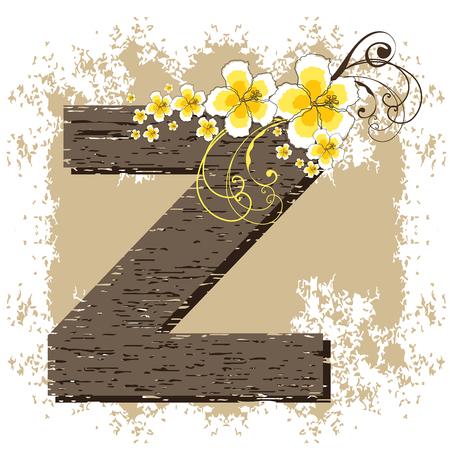 yellow hibiscus grunge vintage alphabet Z Vector