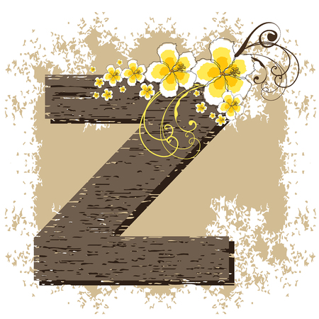 yellow hibiscus grunge vintage alphabet Z Illustration