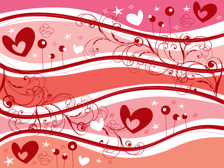 retro pink hearts and swirls valentine Vector
